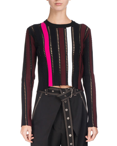 Studded Mixed-Knit Sweater, Multi