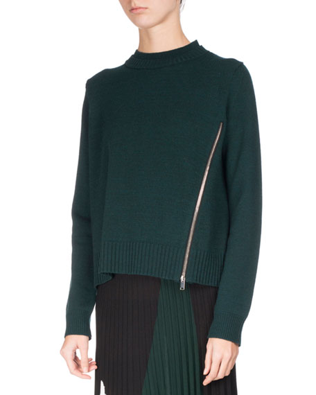 Knit Pullover Sweater w/Zip Detail, Green