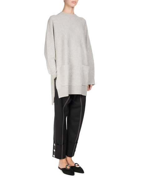 Long-Sleeve Double-Face Cashmere Tunic, Gray/White