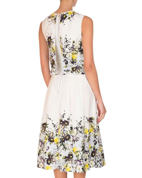 Muriel Sleeveless Floral Midi Dress, Yellow/Blue