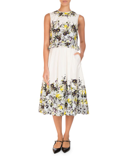 Muriel Sleeveless Floral Midi Dress, Yellow/Blue
