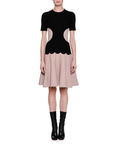 Short-Sleeve Scalloped Knit Dress, Black Pattern