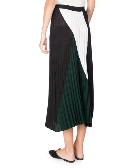 Pleated Colorblock Midi Skirt, Multi Pattern