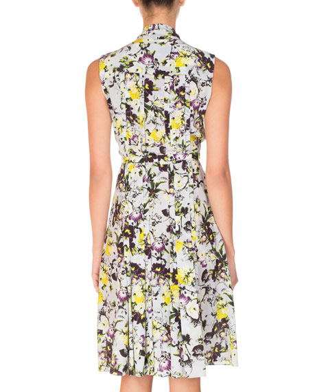 Richelle Floral-Print Tie-Neck Dress, Yellow/Blue