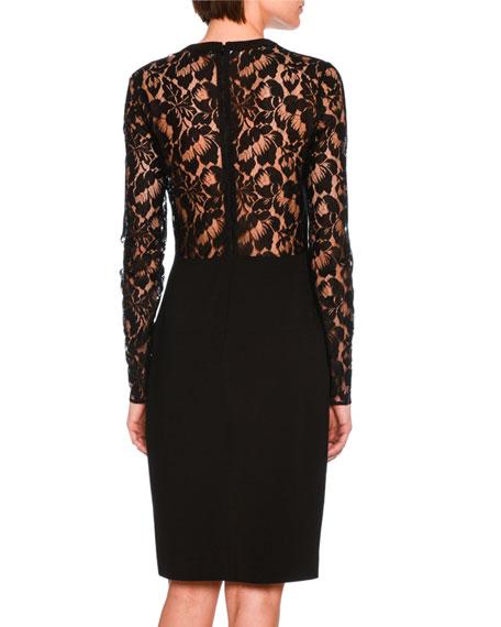 Long-Sleeve Lace Pencil Dress, Black