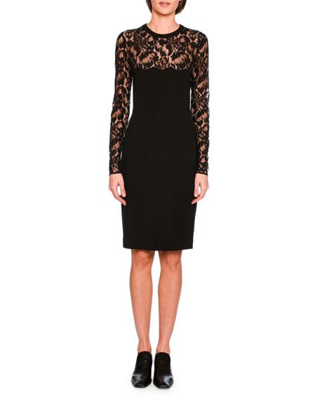 Stella Mccartney Long Sleeve Lace Pencil Dress Black