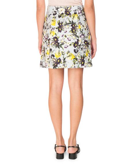 Adele Floral-Print Mini Skirt, Yellow/Blue