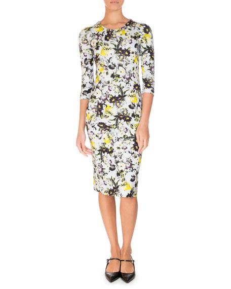Allegra Half-Sleeve Sheath Dress, Yellow/Blue