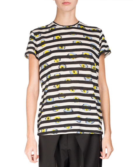 Short-Sleeve Floral Striped Tee, Multi