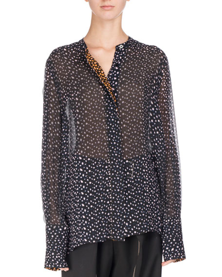 Button-Front Crepe Chiffon Blouse, Multi Pattern