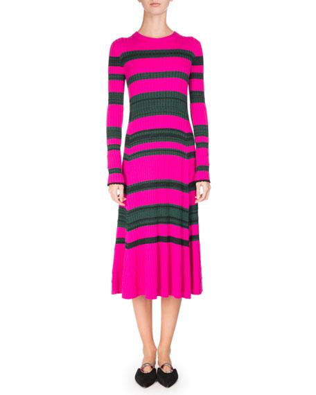 Striped Knit Long-Sleeve Midi Dress, Pink/Green
