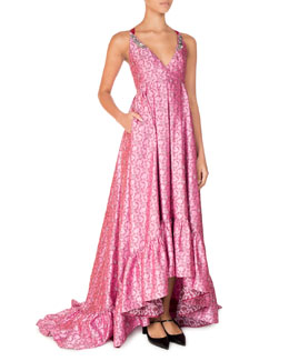 Janet Sleeveless Beaded High-Low Gown, Pink/Red
