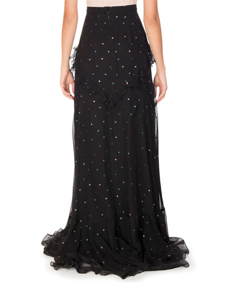 Alison Sequined Chiffon Maxi Skirt, Black Pattern