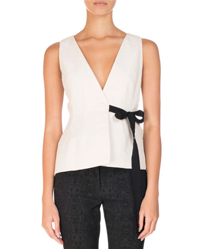 Azure Matelasse Bow-Tie Top, Ivory