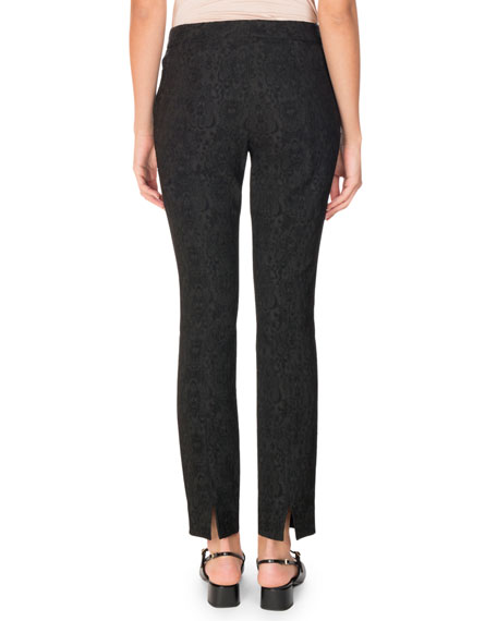 Sidney Jacquard Straight-Leg Pants, Black