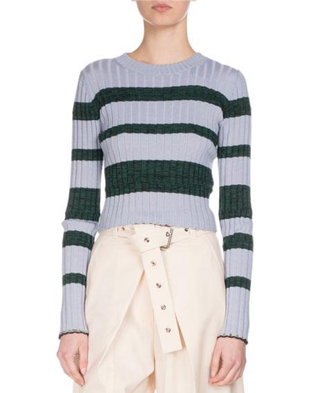 Ultrafine Striped Knit Sweater, Blue/Green