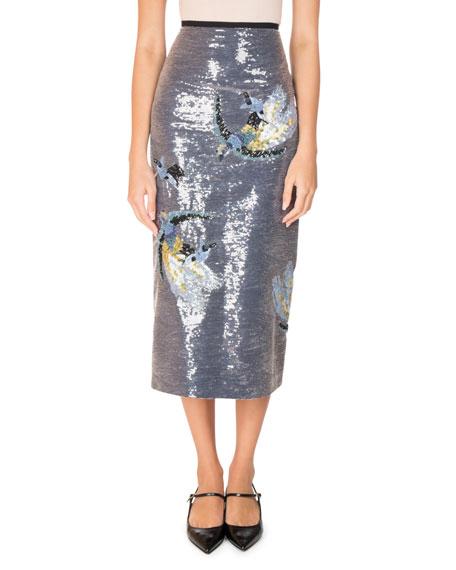 Sacha Bird Sequined Midi Skirt, Blue