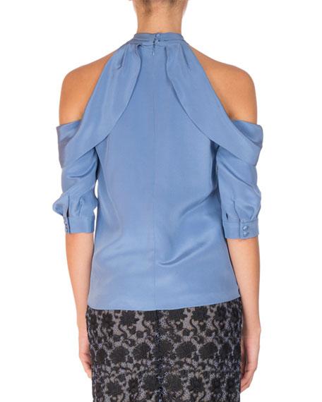 Elin Silk Cold-Shoulder Halter Top, Blue