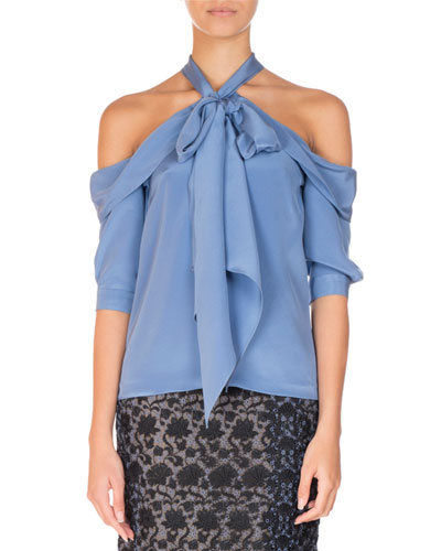 Elin Silk Cold-Shoulder Halter Top, Blue