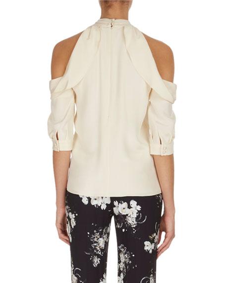 Elin Cold-Shoulder Tie-Neck Top, Ivory