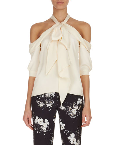 Elin Cold-Shoulder Tie-Neck Top, Ivory