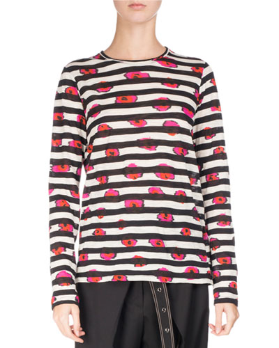Long-Sleeve Floral Striped Tee, Pink