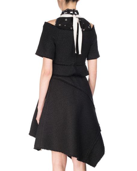 Asymmetric Hem Dress with Waist Tie
