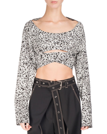 Cropped Long-Sleeve Wrap-Front Top, Black/White
