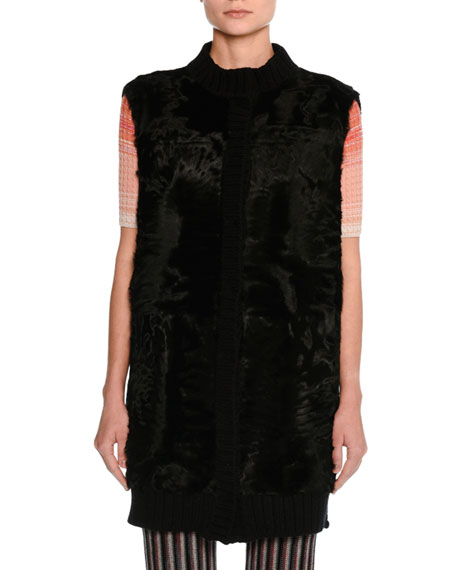 Fur Gilet with Knit Back, Black
