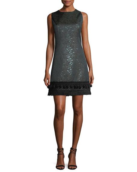 Sleeveless Tassel-Trim Jacquard Dress