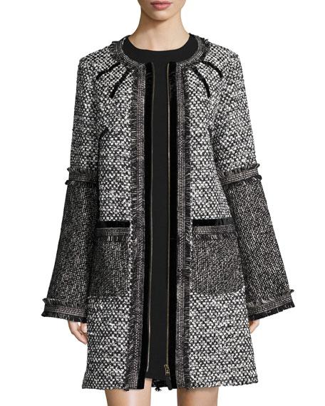 Tweed Zip-Front Coat, Black/White