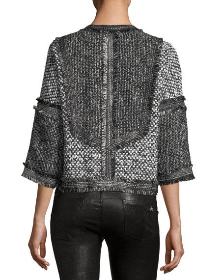 Cropped Tweed Zip-Front Jacket