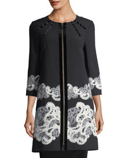 3/4-Sleeve Lace-Trim Crepe Jacket