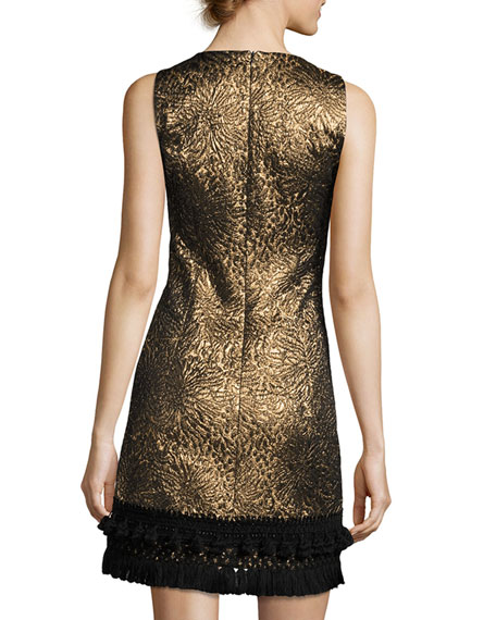 Sleeveless Metallic Jacquard Dress, Gold