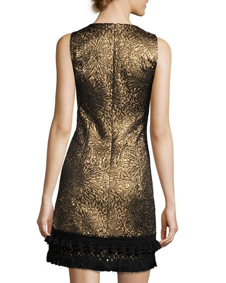 Sleeveless Metallic Jacquard Dress, Gold