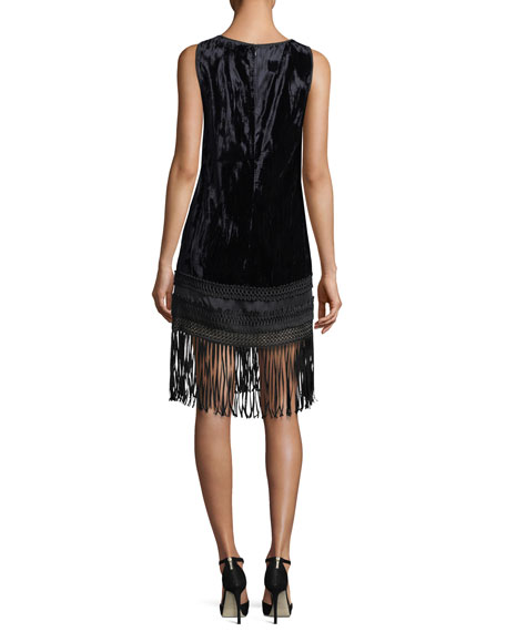 Sleeveless Velvet Fringe-Trim Dress