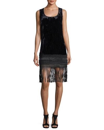 Sleeveless Velvet Fringe-Trim Dress