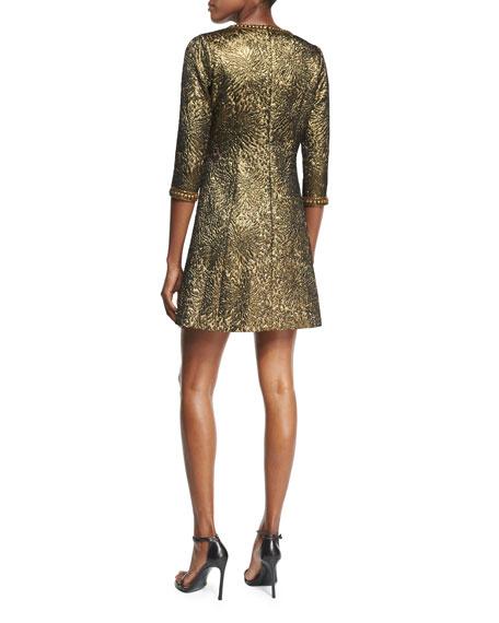 3/4-Sleeve Metallic Jacquard Dress