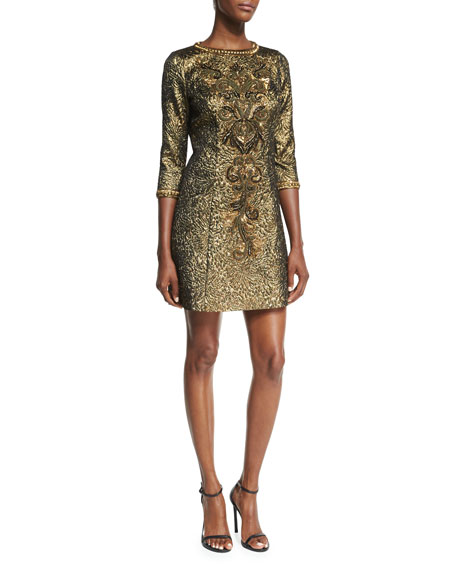 3/4-Sleeve Metallic Jacquard Dress