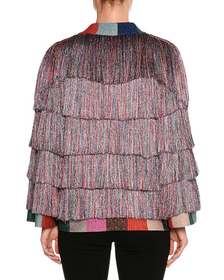 Tiered Fringe Cardigan, Multi