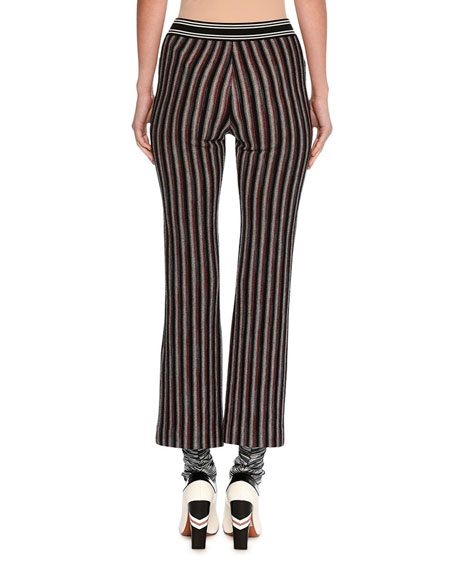 Striped Knit Ankle Pants, Red