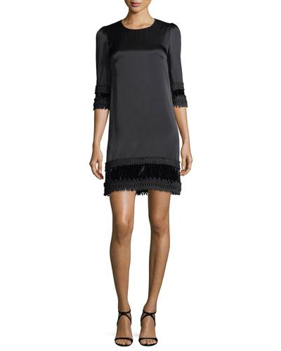 3/4-Sleeve Velvet-Hem Crepe Cocktail Dress