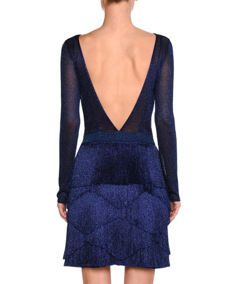 Fringed V-Back Knit Dress, Blue
