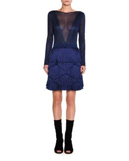 Fringed V-Back Knit Dress, Blue
