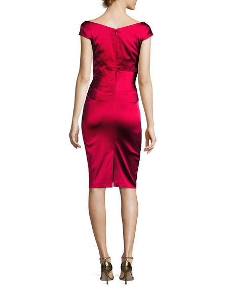 Kortney Satin Cap-Sleeve Dress, Scarlet