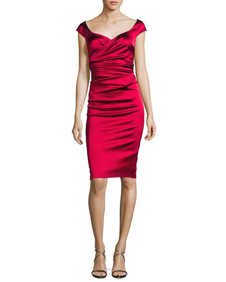 Kortney Satin Cap-Sleeve Dress, Scarlet