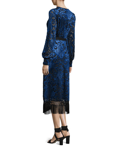Long-Sleeve Velvet Devore Dress, Blue