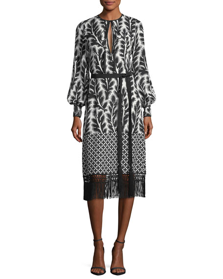 Long-Sleeve Patchwork-Print Midi Dress