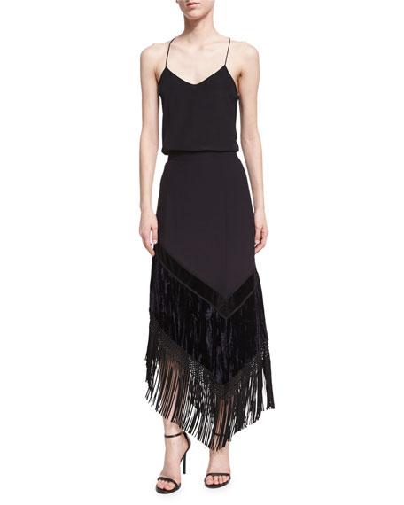 Asymmetric Fringed Midi Skirt, Black