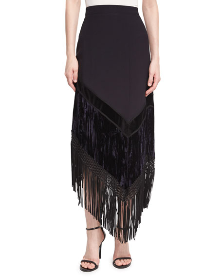 Asymmetric Fringed Midi Skirt, Black